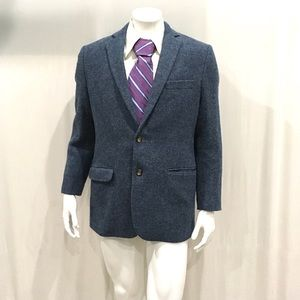 Brooks Brothers Harris Tweed Wool Mens Blue Blazer